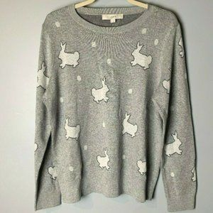 LOFT NEW Sweater Size XL Bunnies Gray White Black